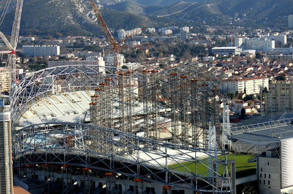 Stade Velodrome, Marseille. Currently under renovation, the brand new 67 000 seats stadium will be ready in 2014 ( Screenshot - Credit to http://projets-architecte-urbanisme.fr/chantier-travaux-stade-velodrome-olympique-marseille)
